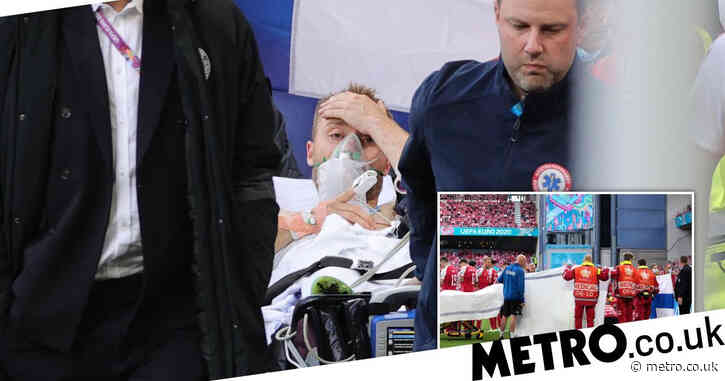 Christian Eriksen conscious as he leaves stadium after collapsing during Denmark vs Finland