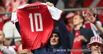 Everton and Liverpool players show support for Christian Eriksen