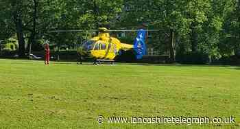 Air ambulance lands at Rhyddings Park