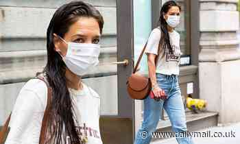 Katie Holmes steps out with wet hair and wears a vintage Jimi Hendrix T-shirt in NYC after break up