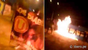 Hinchas de Universitario queman pintas de Sporting Cristal en La Florida - VIDEO - Libero.pe