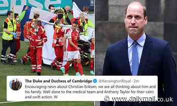 Prince William sends thoughts to Christian Eriksen and his family after Danish midfielder collapses - Daily Mail