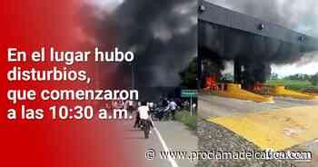 Manifestantes incendiaron peaje y báscula en Villarrica – Proclama del Cauca - Proclama del Cauca