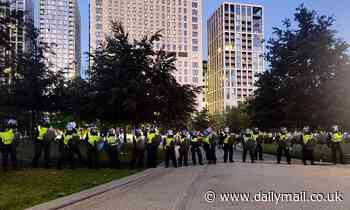 Riot police are pelted with bottles at park close to London Eye