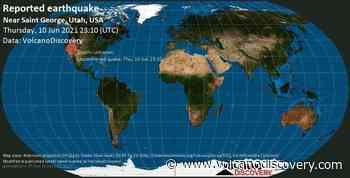 Quake info: Unconfirmed quake reported: 22 mi southwest of Saint George, Washington County, Utah, USA, 10 June 2021 23:10 GMT - 1 user experience report - VolcanoDiscovery