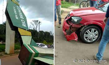 Forte temporal derruba pórtico da entrada de Rio Branco e atinge carro - ac24horas.com