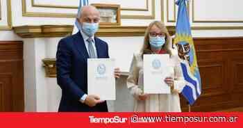 Alicia Kirchner firmó un convenio de obra pública en Caleta Olivia - Tiempo Sur