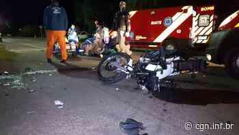 Três pessoas ficam feridas em colisão entre duas motos e um carro no Cascavel Velho - CGN
