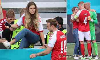 Denmark's stars comforted Christian Eriksen's wife Sabrina after he collapsed during Euro 2020 game