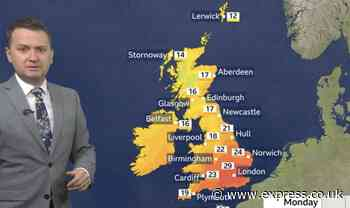 BBC Weather: UK temperatures soar past 30C but heatwave could be abruptly cut short - Daily Express
