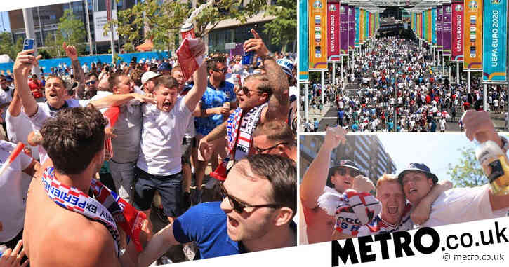 England fans get the Coronas in before Euro 2020 opener against Croatia