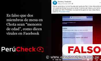 Es falso que dos miembros de mesa en Chota sean 'menores de edad', como dicen virales en Facebook - El Regional