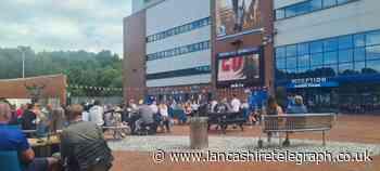 Football fans enjoy England game from Ewood Park screen