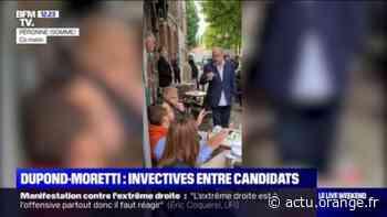 Vif échange entre Éric Dupond-Moretti et Damien Rieu, candidat RN aux départementales, sur une terrasse de Péronne - Actu Orange