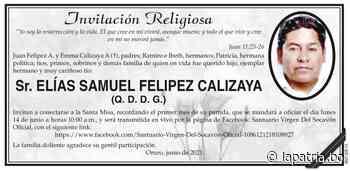 Invitación Religiosa: Sr. ELÍAS SAMUEL FELIPEZ CALIZAYA (QDDG) - Periódico La Patria (Oruro - Bolivia)
