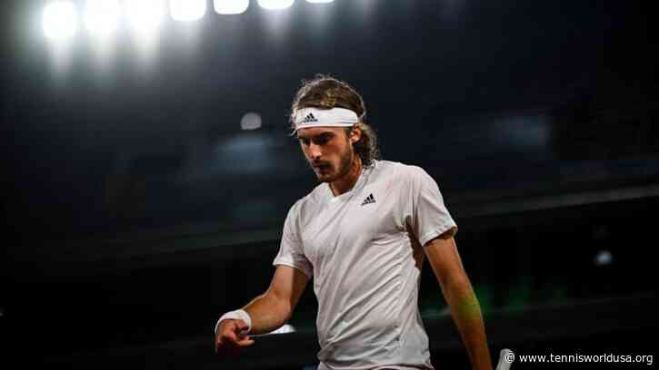 Stefanos Tsitsipas reacts to losing to Novak Djokovic in French Open final