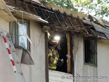Edmonton firefighters battle blaze at the 118 Avenue apartment building