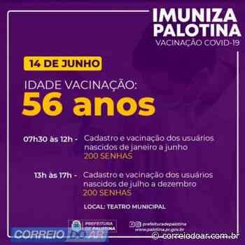 Palotina vai vacinar pessoas com 56 anos na segunda-feira - Correio do Ar