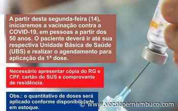 Prefeitura de Carpina iniciará a vacinação de pessoas a partir dos 50 anos nesta segunda (14) - Voz de Pernambuco