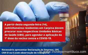 Vacinação em caminhoneiros será iniciada nesta segunda (14) em Carpina - Voz de Pernambuco