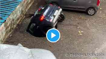 Shocking! Hyundai Venue SUV drowns inside a sinkhole in few seconds, check viral video