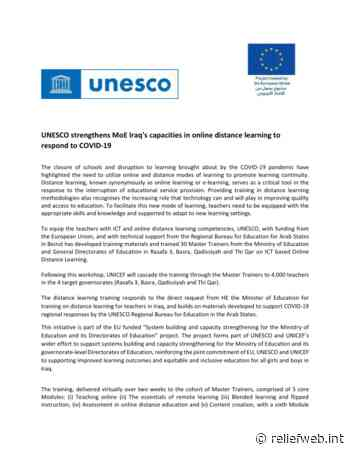 UNESCO strengthens MoE Iraq's capacities in online distance learning to respond to COVID-19 [EN/AR] - Iraq - ReliefWeb
