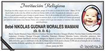 Invitación Religiosa: Bebé Nikolas Gudnar Morales Mamani (QDDG) - Periódico La Patria (Oruro - Bolivia)