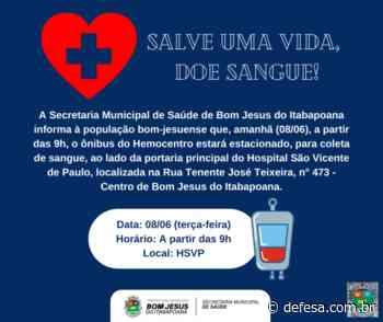 Doação de sangue em Bom Jesus do Itabapoana amanhã (08/06) - Defesa - Agência de Notícias