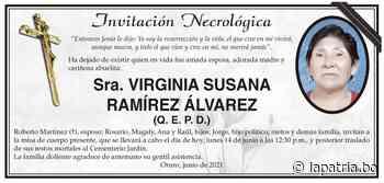 Invitación Necrológica: Sra. VIRGINIA SUSANA RAMÍREZ ÁLVAREZ (QEPD) - Periódico La Patria (Oruro - Bolivia)