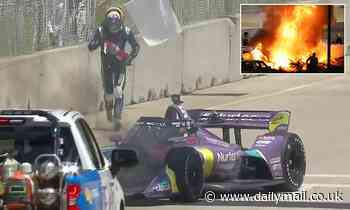 Romain Grosjean turns firefighter as racing driver attempts to put out flaming car HIMSELF