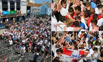 England supporters ignore social distancing rules to cram into Euro 2020 fan zone in Dorset