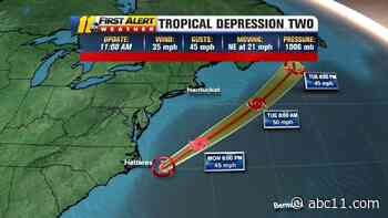 Tropical Depression 2 forms off North Carolina coast; expected to become TS Bill soon