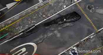 Fotos | La tierra se tragó una parte de la vía en Medellín; autoridades culpan a las lluvias - Semana
