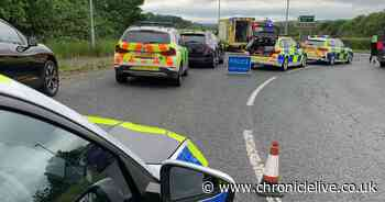 Cyclist taken to hospital after crash with car on A68