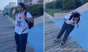 Moment white Maryland police officers taser and arrest black teenager 'for vaping on boardwalk'