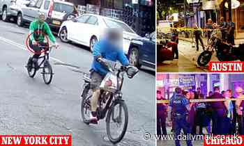 Asian deliveryman riding his bike is stabbed in the BACK by another cyclist