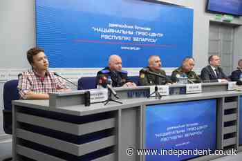 Jailed journalist Roman Protasevich attends government press conference