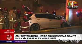 Miraflores: despiste de auto en la Vía Expresa deja herido a conductor - El Comercio Perú