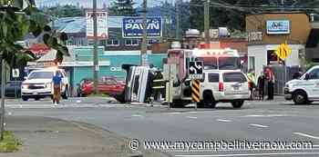 Camper van runs red light in Campbellton, flips onto its side - My Campbell River Now