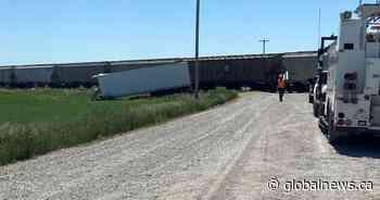 No serious injuries in train-semi collision near Nobleford, Alta.