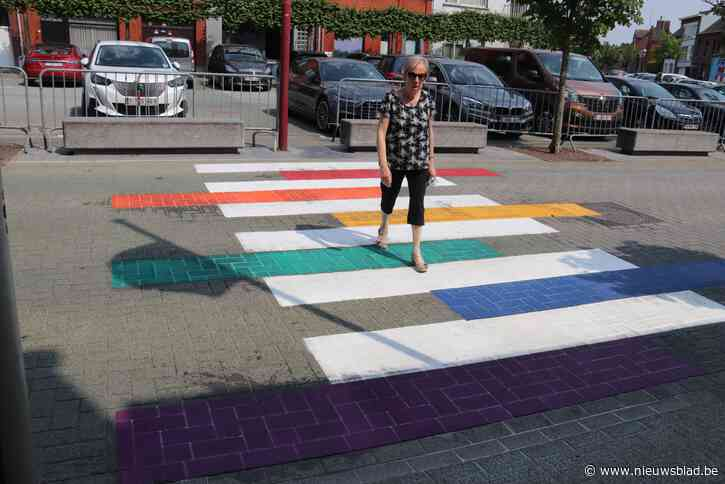 Regenboogzebradpad voor het stadhuis