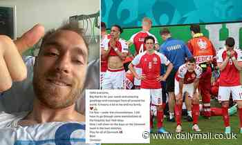Euro 2020: Upbeat Christian Eriksen posts thumbs-up selfie from hospital as he faces further tests