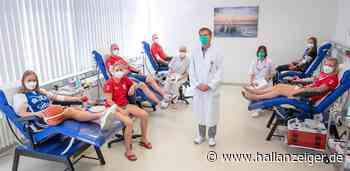 Universitätsmedizin Halle zum Weltblutspendetag mit sportlichem Einsatz - H@llAnzeiger