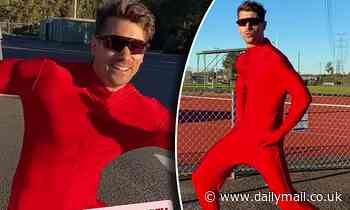 Matty 'J' Johnson insists it's a 'very cold day' as he dons a revealing unitard