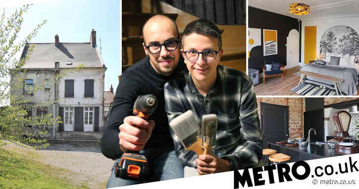 Couple renovate dilapidated 1850s French mansion into stunning modern home