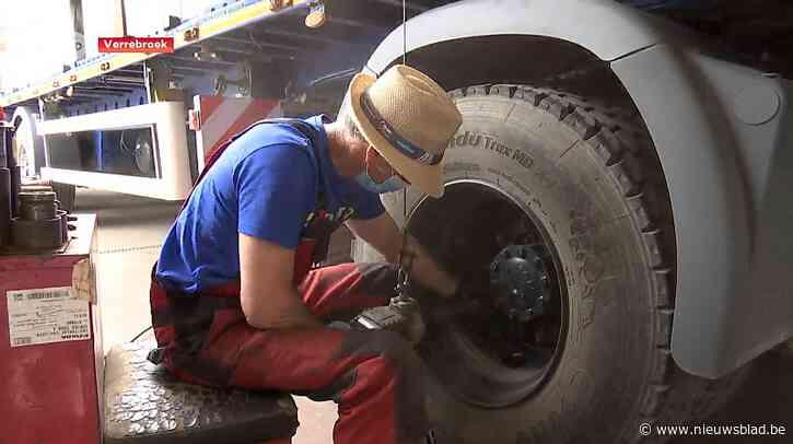 Bandencentrale in Verrebroek recupereert lucht uit opgepompte vrachtwagenbanden om andere banden mee op te pompen