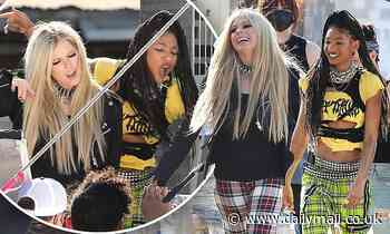 Avril Lavigne joins Willow Smith on the set of her new music video in LA