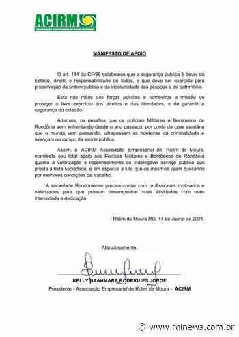 Associação empresarial de Rolim de Moura manifesta apoio ao movimento Valorização Já! PM/BM - ROLNEWS