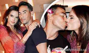 Alessandra Ambrosio dazzles in plunging dress as she locks lips with her boyfriend Richard Lee