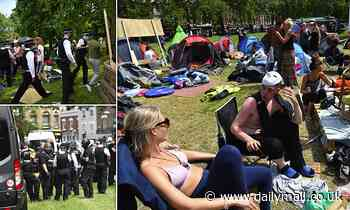 Bailiffs move in to clear anti-lockdown protestors from their 'Lovedown' camp in Shepherd's Bush